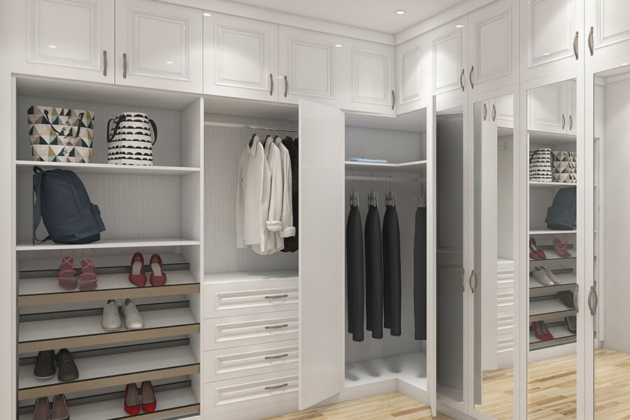 open White Corner Mirrored Wardrobe