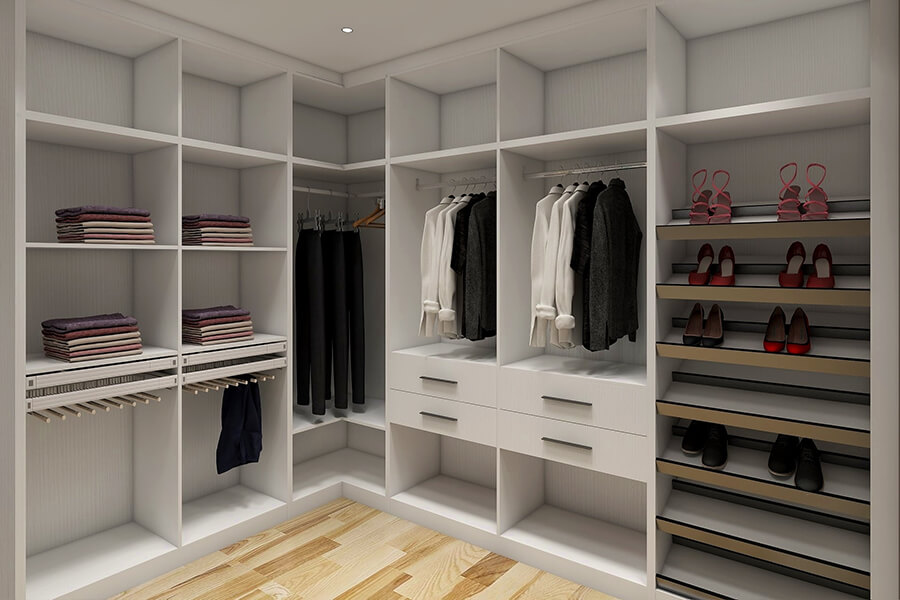 Luxury Walk In Closet White Wardrobe With Drawers