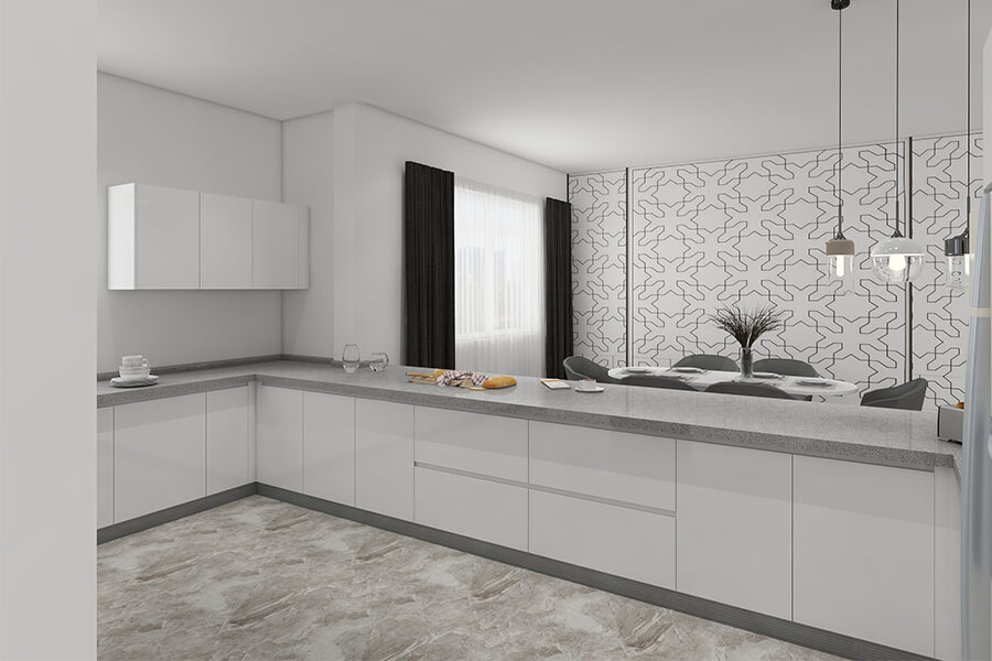 open u shaped high gloss white simple kitchen cabinets design